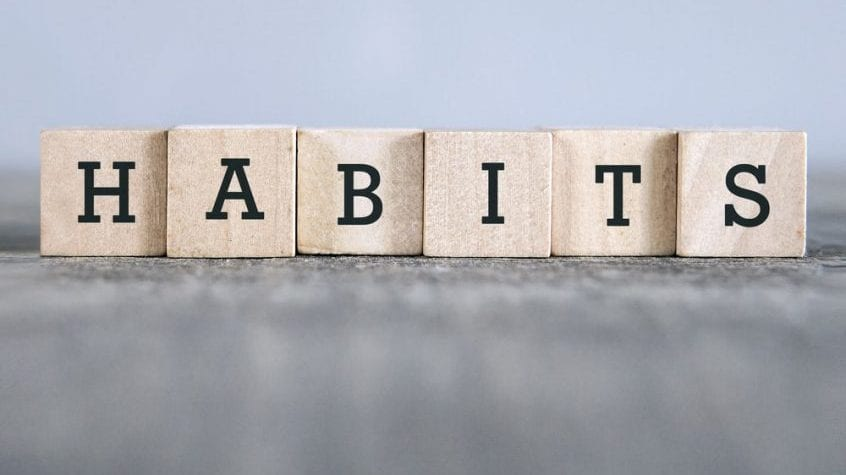 habits spelled out on wooden cubes