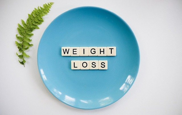 blue plate with words weight loss