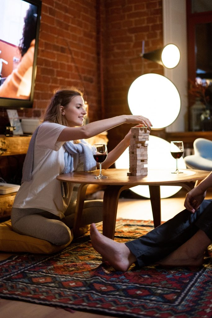 couple playing a stacking game